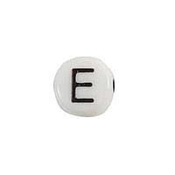 Letter Bead Acrylic Black and white 7mm E, 20 pieces