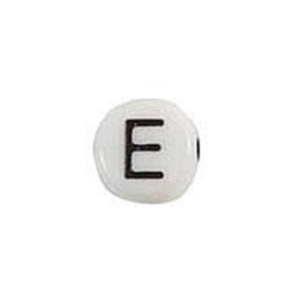 Letterkraal Acryl Zwart wit 7mm E, 20 stuks