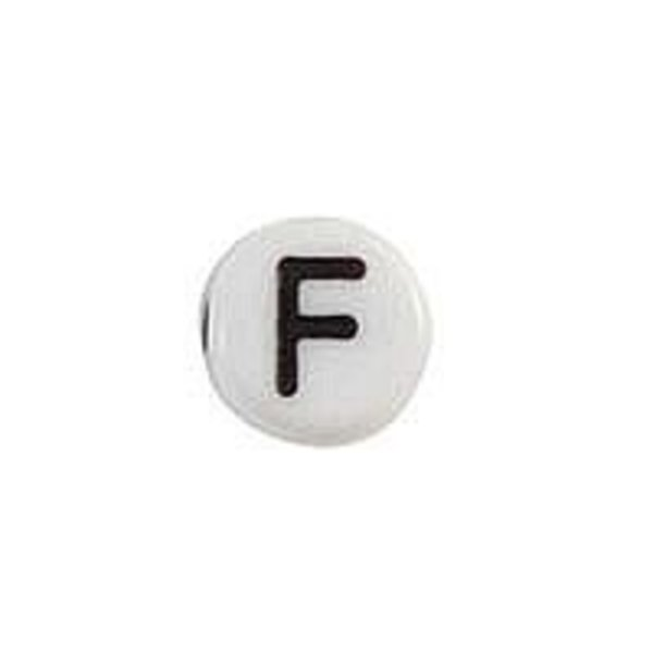 Letter Bead Acrylic Black White 7mm F, 20 pieces