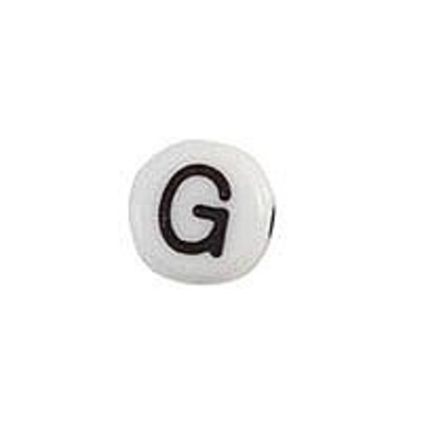 Letter Bead Acrylic Black White 7mm G, 20 pieces