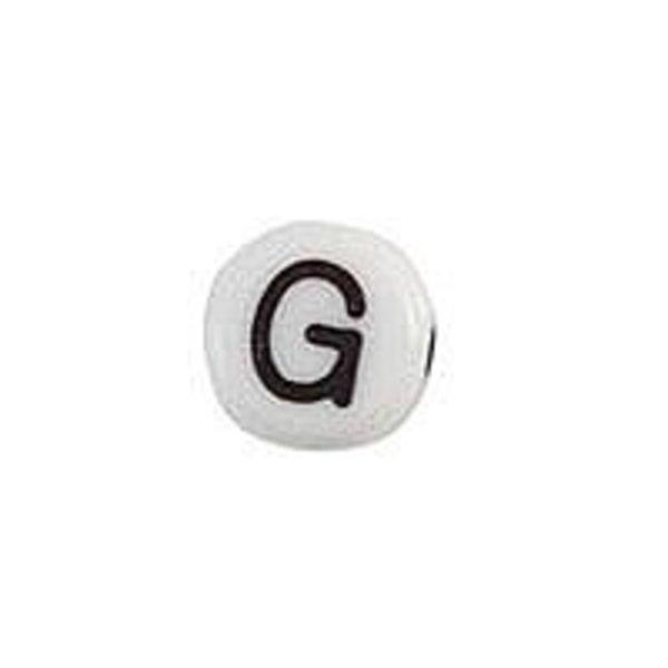Letterkraal Acryl Zwart Wit 7mm G, 20 stuks