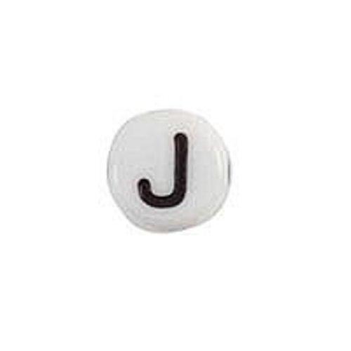 20 pieces Letter Bead Acrylic Balck White 7mm J