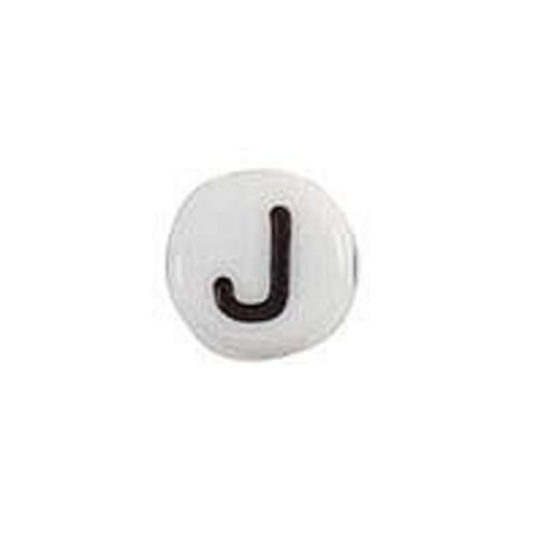 25 pieces Letter Bead Acrylic White 7mm J