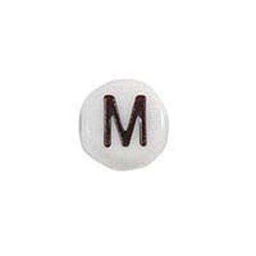 20 pieces Letter Bead Acrylic Zwart White 7mm M