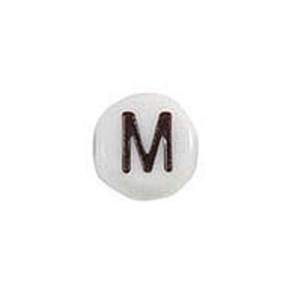 Letter Bead Acrylic Black White 7mm M, 20 pieces