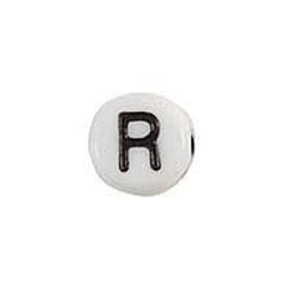 Letter Bead Acrylic Black White 7mm R, 25 pieces