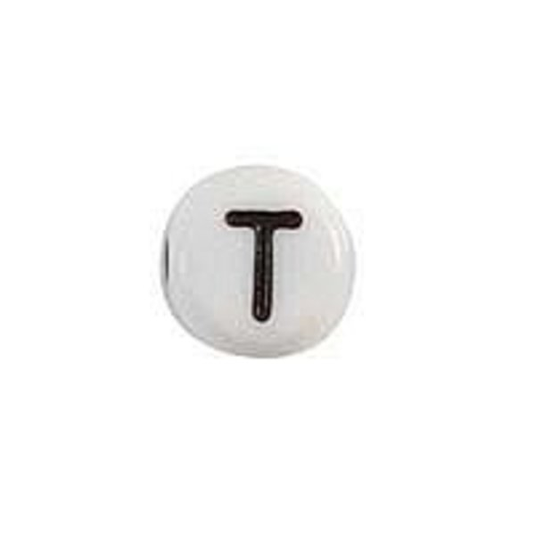 Letter Bead Acrylic Black White 7mm T, 20 pieces