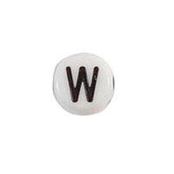 Letterkraal Acryl Zwart Wit 7mm W, 20 stuks