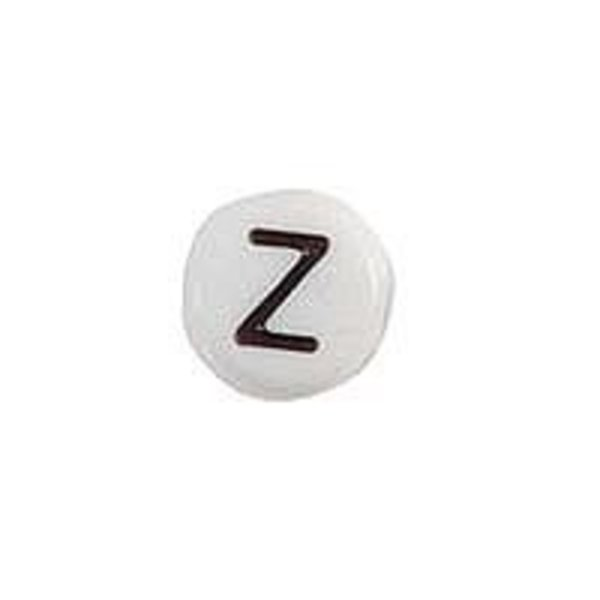 Letter Bead Acrylic Black White 7mm Z, 20 pieces