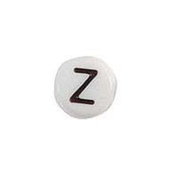 Letterkraal Acryl Zwart Wit 7mm Z, 20 stuks