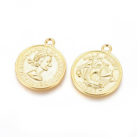 3 stuks Coin Charm Goud 23x19mm Nikkelvrij