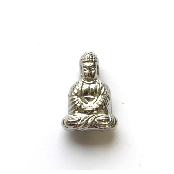 Buddha Kraal Acryl Zilver 20x13mm, 3 stuks