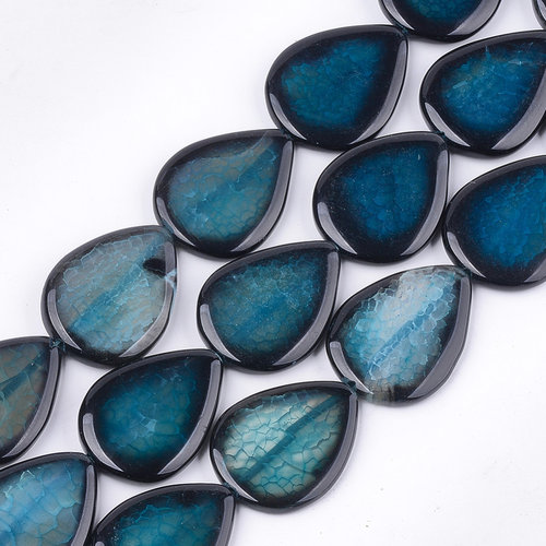 3 pieces Natural Crackle Agate Teardrop Beads Petrol 40x30mm