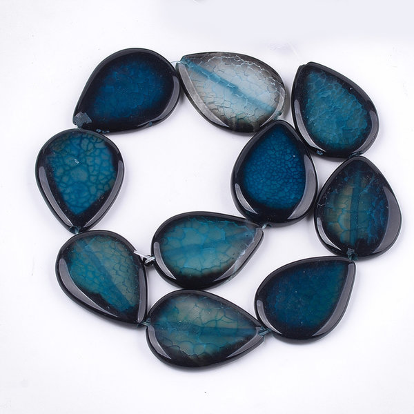 Natural Crackle Agate Teardrop Beads Petrol 40x30mm, strand 10 pieces