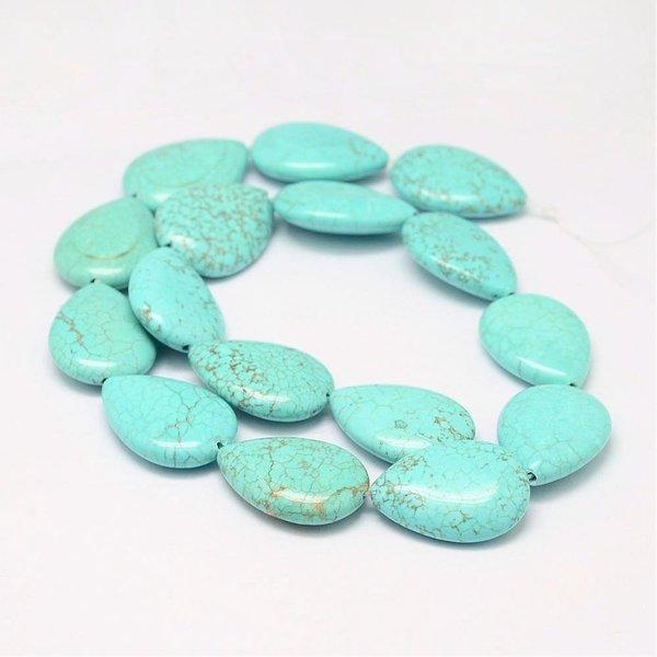 Natural Turquoise Druppelkralen 25x18mm, 3 stuks