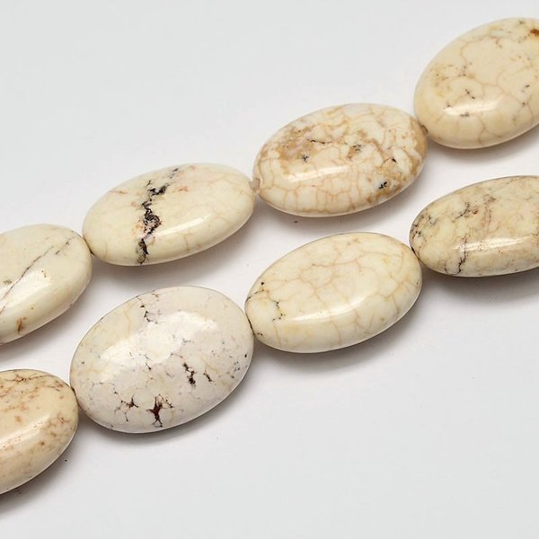 Natural Turquoise Beads Creamy White 26x18mm, 3 pieces