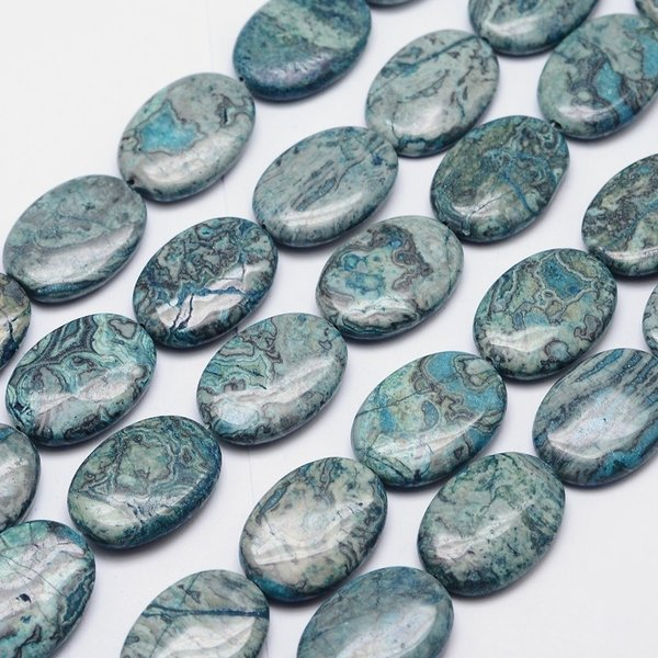 Natural Ripple Jasper Beads Teal 26x19mm, 3 pieces