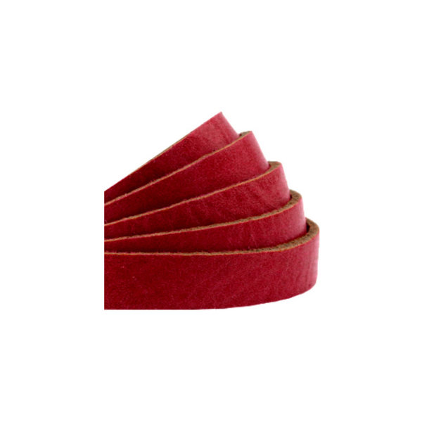 60cm Flat Leather Designer Quality 10mm Red