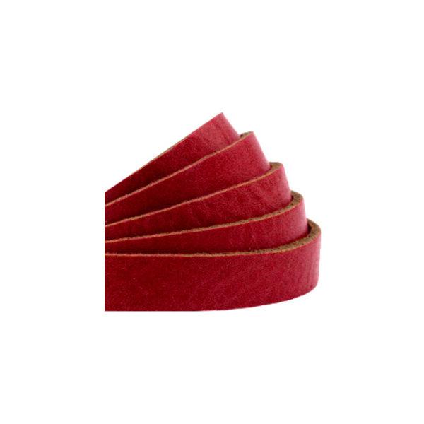 60cm Flat Leather Designer Quality 10mm Red