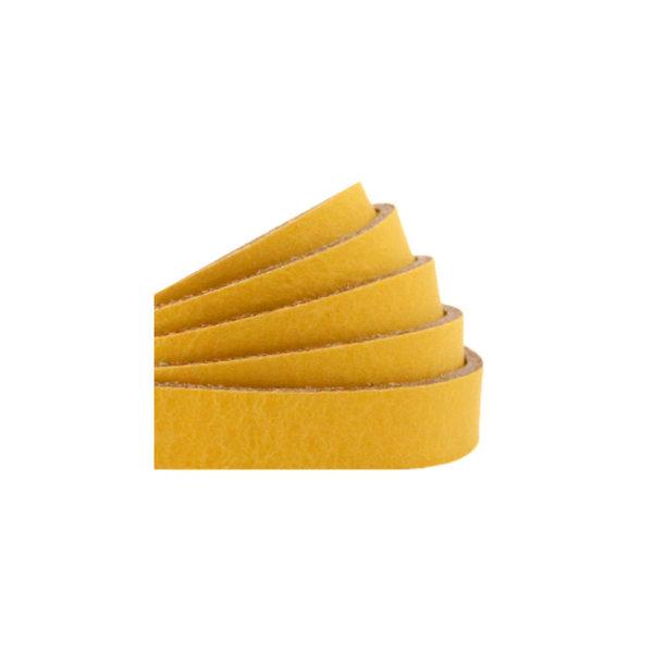60cm Flat Leather Designer Quality 10mm Ochre Yellow