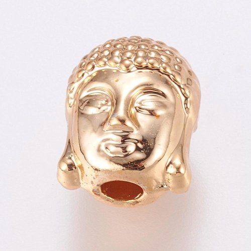 Buddha Beads Gold Plated 11x9mm, 4 pieces
