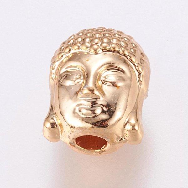 Buddha Kralen Gold Plated 11x9mm, 4 stuks
