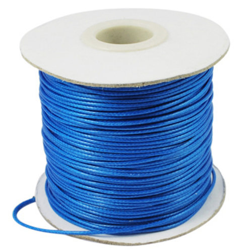5 meter Waxed Cord 0.5mm Blue