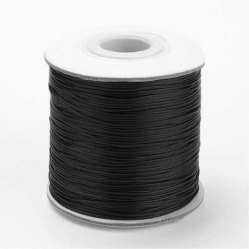 Waxed Cord Black 1mm, 3 meter