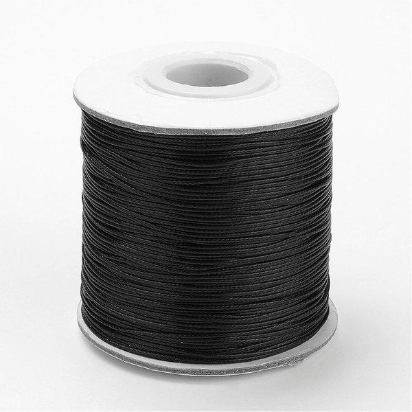 Waxed Cord Black 1mm, 3 meter