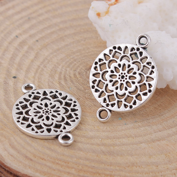 4 stuks Connector Flower Mandala 20x14mm Zilver