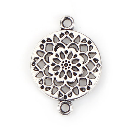 4 pieces Connector Flower Mandala 20x14mm Silver