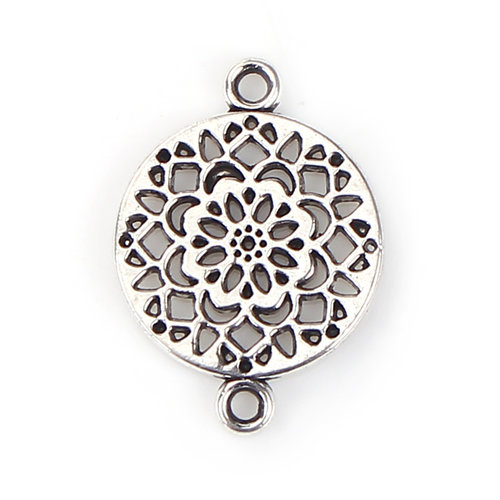 4 pieces Connector Flower Mandala 20x14mm Silver