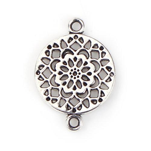 4 stuks Connector Flower Mandala 20x14mm Zilver