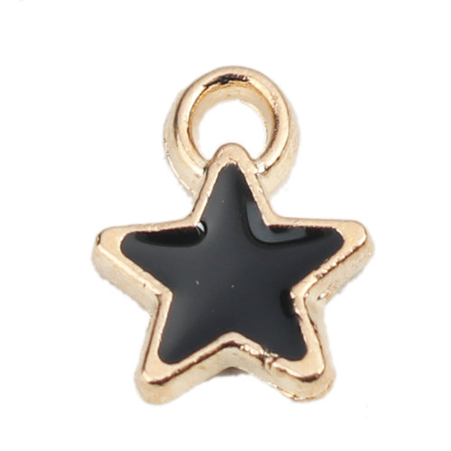 5 pieces Star Charm Gold Plated 8x7mm Black