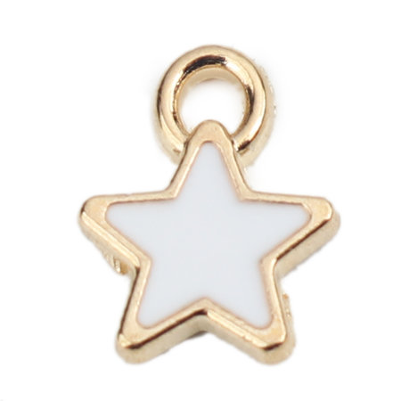 5 pieces Star Charm Gold Plated 8x7mm White