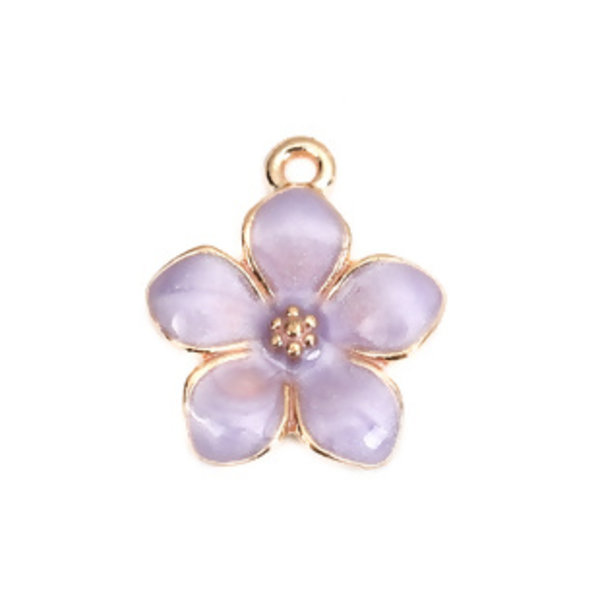 3 pieces Flower Charm Gold Plated 17x15mm Purple