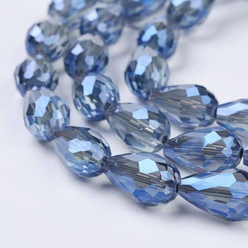 10 stuks Druppelkralen Shine 15x10mm Grijs Blauw