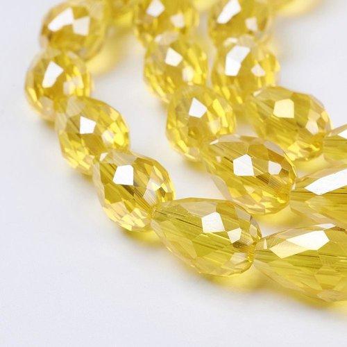 10 stuks Druppelkralen Shine 15x10mm Geel
