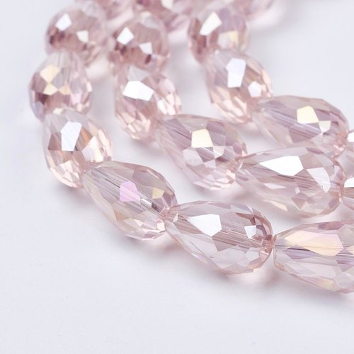 10 pieces Dropbeads Shine 15x10mm Light Pink