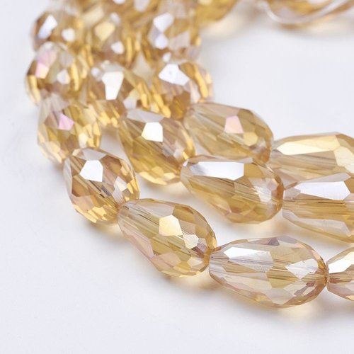 10 pieces Dropbeads Shine 15x10mm Champagne