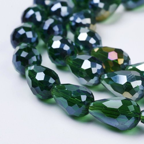 10 pieces Dropbeads Shine 15x10mm Dark Green