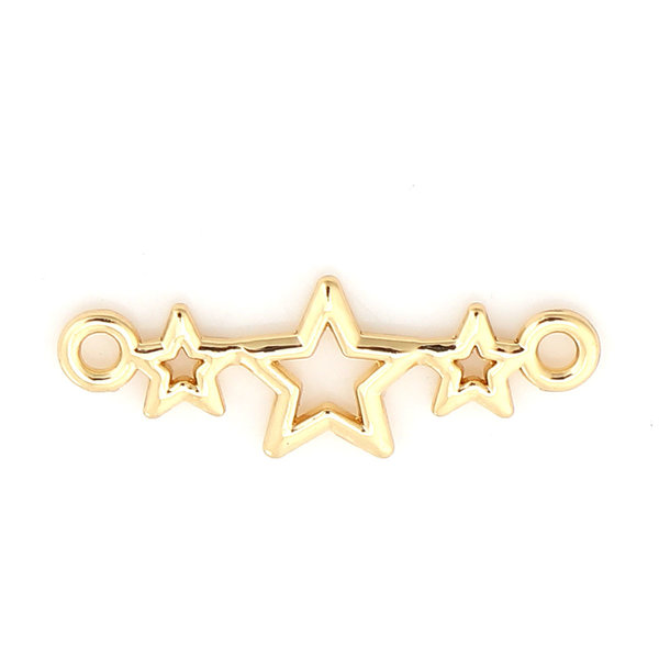 3 pieces Connector Stars 25x9mm Gold Plated