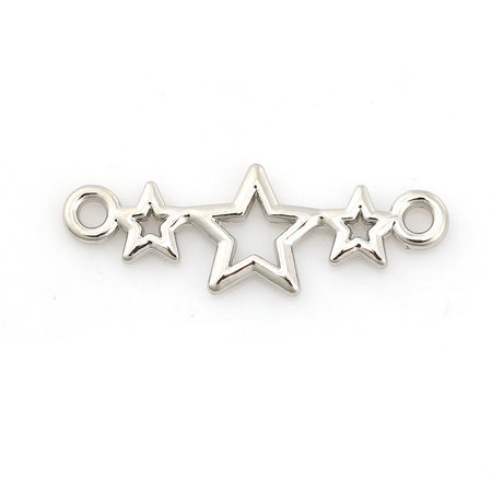 3 pieces Connector Stars 25x9mm Silver