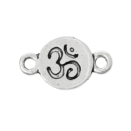 5 pieces Connector Ohm Yoga 17x10mm Silver