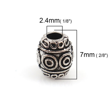 10 pieces Spacer Beads Barrel Silver 7x6mm