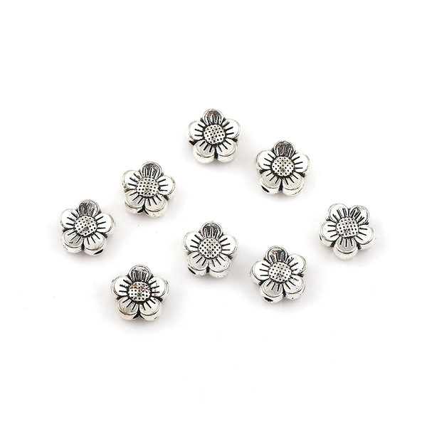 8 pieces Spacer Beads Flower Silver 8x8mm