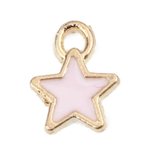 5 pieces Star Charm Gold Plated 8x7mm Light Pink