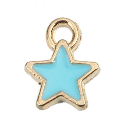 5 pieces Star Charm Gold Plated 8x7mm Light Blue