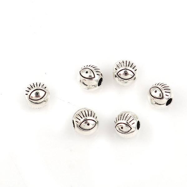 10 pieces Spacer Beads with Eye Silver 6mm