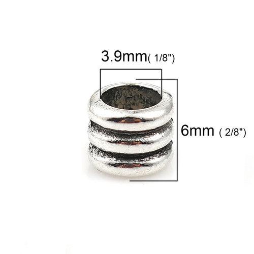 10 stuks Spacer Beads Cylinder Zilver 6x5mm